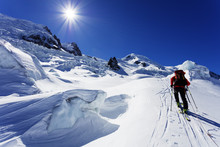 Europe, France, Haute Savoie, Rhone Alps, Chamonix, Ski Tourer On Mont Blanc