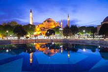 Hagia Sophia Reflection At Night, Sultanahmet Square Park, Istanbul, Turkey