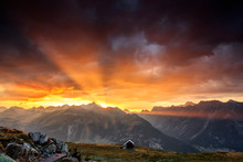Rays Of Sun Of Fiery Sky At Sunset Frame The Peaks Muottas Muragl St.Moritz Engadine Canton Of Graubünden Switzerland Europe