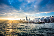 Hong Kong Skline With Star Ferry