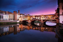 Ponte Vecchio At Sunset Reflec...