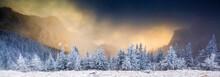 Sunrise In Ceahlaul Massif In Winter