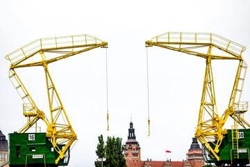 Historic harbor cranes for the buildings of Szczecin