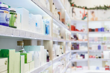 Shelves With Skin And Hair Care Products In A Cosmetic Store