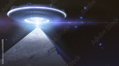 Türaufkleber UFO Flying sucer flying over a pyramid and connecting with a energy ray - 3D rendering