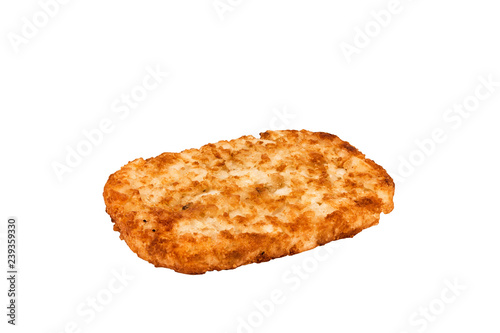 Foto Close up on a crispy hash brown isolated on a white background