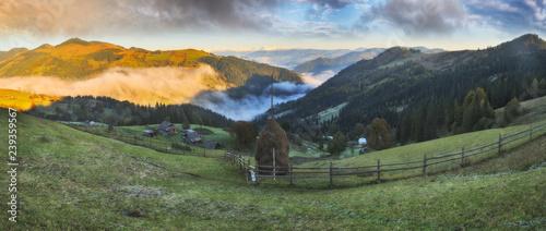 Printed kitchen splashbacks Khaki autumn sunrise in the Carpathian mountains. picturesque foggy morning