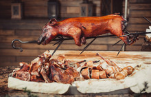 Whole Grilled Pig With Meat St...