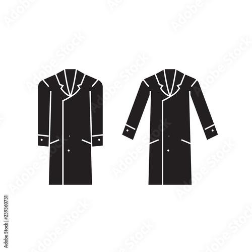 Fotografie, Obraz  Men overcoat black vector concept icon