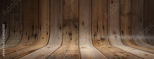 Foto  Old grungy and curved wooden background, banner
