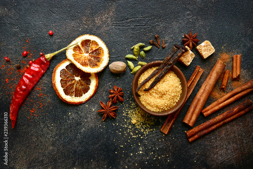 Assortment of winter spices.Top view with copy space. Canvas Print