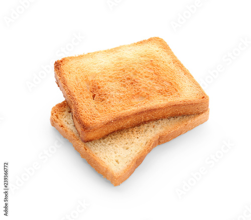 Vászonkép Tasty toasted bread on white background
