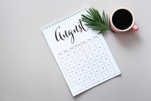 Calendar Page Of August On Grey Background