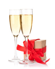 Valentines day gift box and champagne glasses