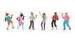 Friend party vector illustration set with men and women with holiday equipment dancing and having fun - isolated flat male and female characters with no faces drinking cocktails and eating pizza.