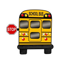 School Bus With Stop Sign On W...