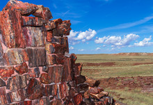 Corner Wall Of Agate House With A Landscape View At Petrified Forest National Park In Arizona, USA