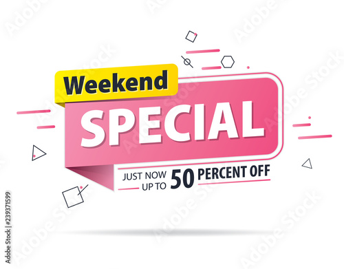 Yellow pink tag Weekend special 50 percent off promotion website banner heading design on graphic white background vector for banner or poster. Sale and Discounts Concept. Wall mural