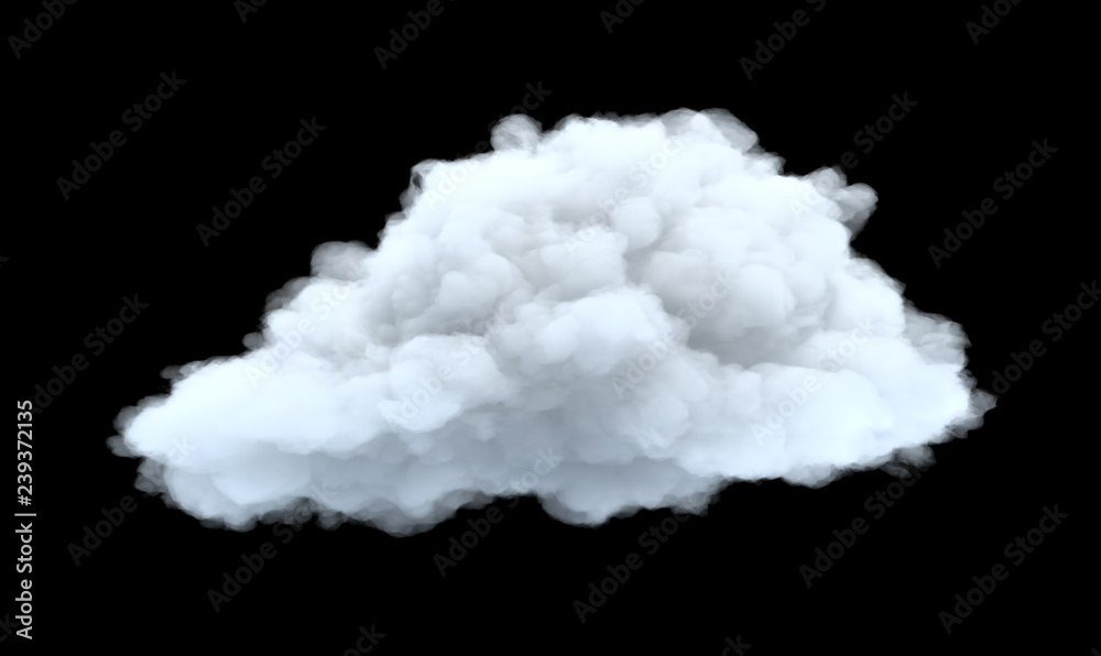Fototapeta 3d rendering of a white bulky cumulus cloud on a black background.