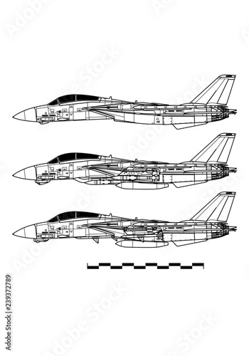 Grumman F-14 TOMCAT. Outline drawing Canvas Print