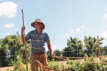 Aged Man Cultivating Soil With...