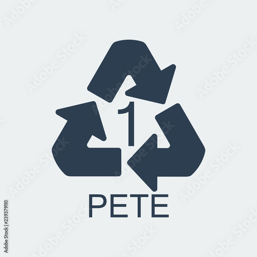 Photo  Plastic recycling symbol PETE 1,Wrapping Plastic, Label