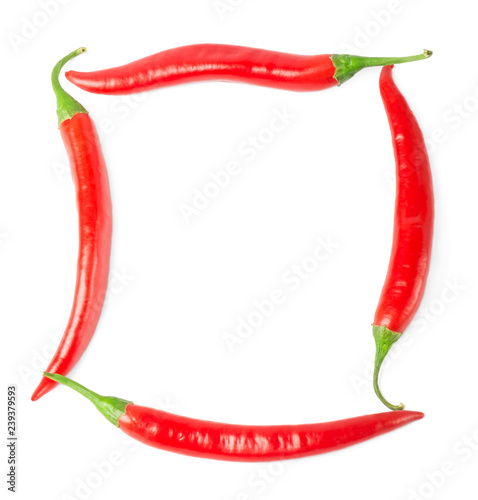 Photo  Hot red  chilli pepper isolated on white background