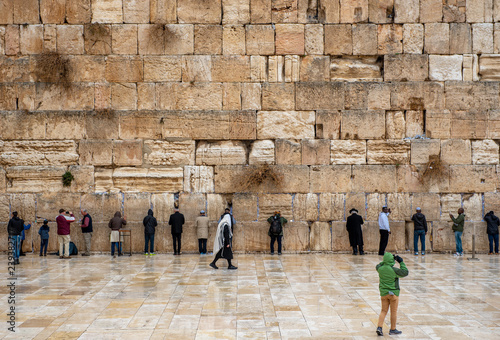 Fotobehang Midden Oosten JERUSALEM, ISRAEL - DECEMBER 04, 2018: The Western Wall, Wailing Wall, or Kotel, known in Islam as the Buraq Wall, is an ancient limestone wall in the Old City of Jerusalem