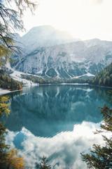 Fototapeta Rzeki i Jeziora Amazing Beautiful Alpine Lago di Braies Mountain Lake Landscape