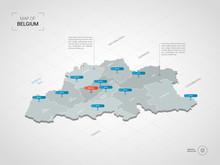 Isometric 3D Belgium Map. Styl...