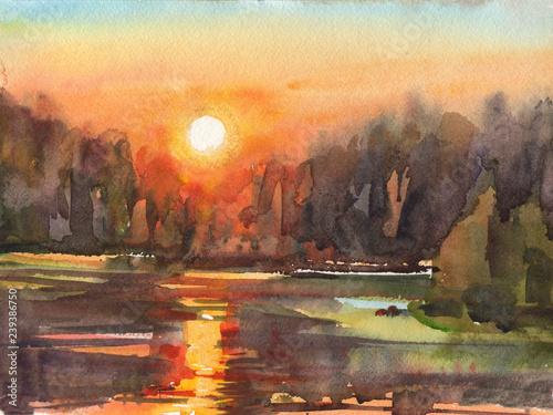 Canvas Prints Cappuccino bright summer sunset river lake orange forest illustration