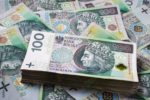 Background made of polish 100 zloty banknotes Fototapeta