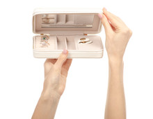 White Jewelry Box In Hand Beauty In Hands On White Background Isolation