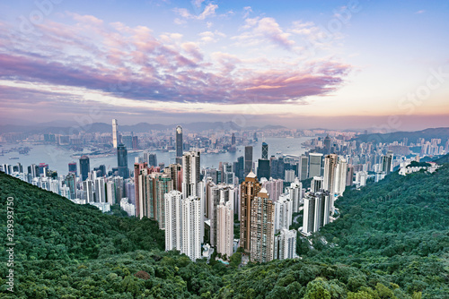 Photo  View of the downtown of Hong Kong from Victoria Peak.