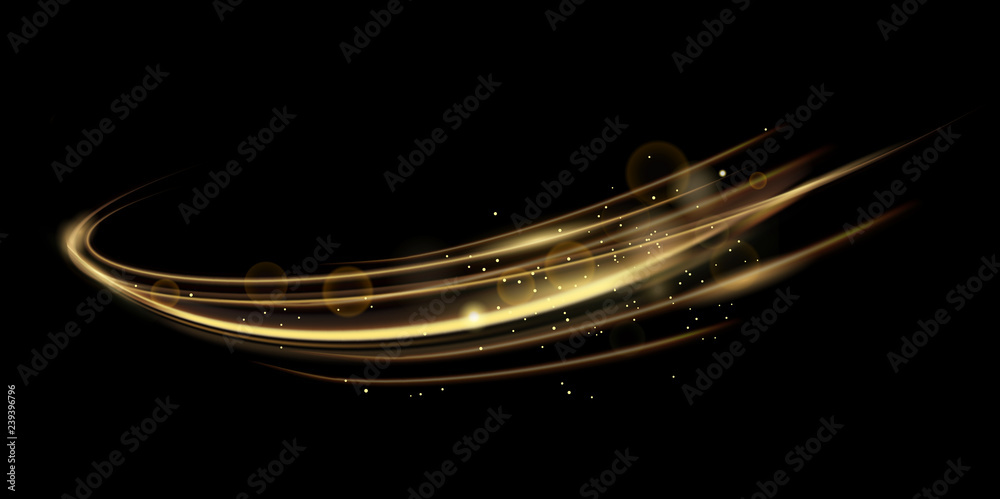 Fototapeta Vector illustration of golden dynamick lights linze effect isolated on black color background. Abstract background for science, futuristic, energy technology concept. Digital image lines with light