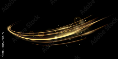 Obraz Vector illustration of golden dynamick lights linze effect isolated on black color background. Abstract background for science, futuristic, energy technology concept. Digital image lines with light - fototapety do salonu
