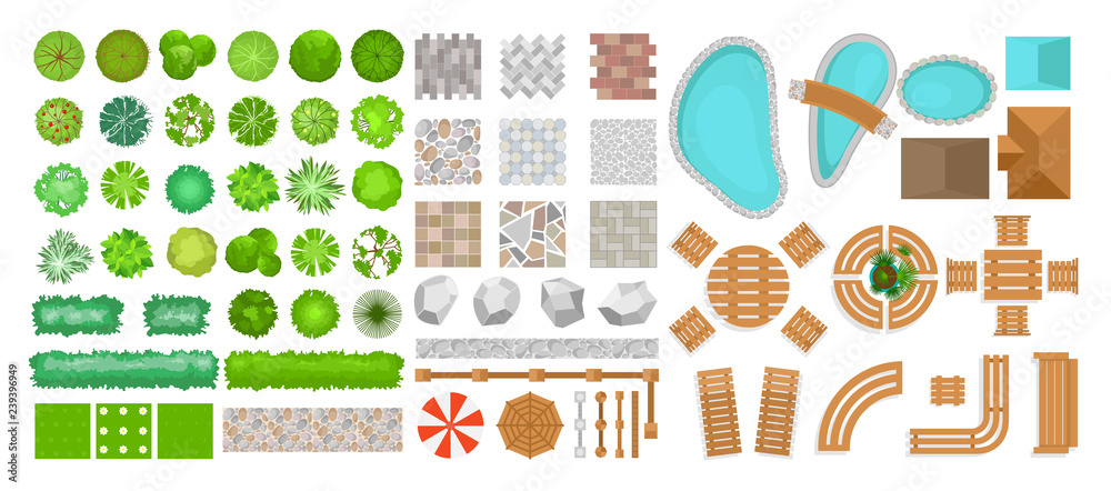 Fototapeta Vector illustration set of park elements for landscape design. Top view of trees, outdoor furniture, plants and architectural elements, fences, sun loungers, umbrellas isolated on white background