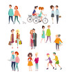 Vector illustration big set of walking and standing people, happy friends, hugging couples, people riding bicycles, walking together or pairs of men and women on date. Colorful characters collection