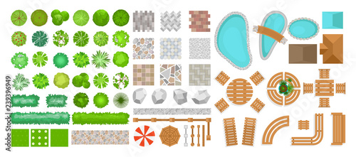 Poster Blanc Vector illustration set of park elements for landscape design. Top view of trees, outdoor furniture, plants and architectural elements, fences, sun loungers, umbrellas isolated on white background