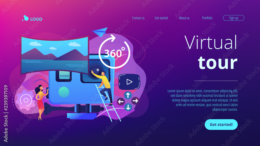 Fototapeta Business people on virtual reality tour 360 watching beautiful landscape and a camera. Virtual tour, 3d reality tours, virtual reality walk concept. Website vibrant violet landing web page template.