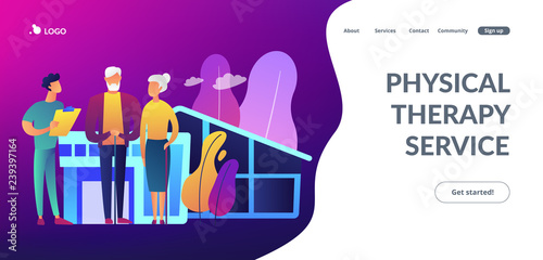 Obraz Skilled nurse and elderly people getting around-the-clock nursing care. Nursing home, nursing residential care, physical therapy service concept. Website vibrant violet landing web page template. - fototapety do salonu