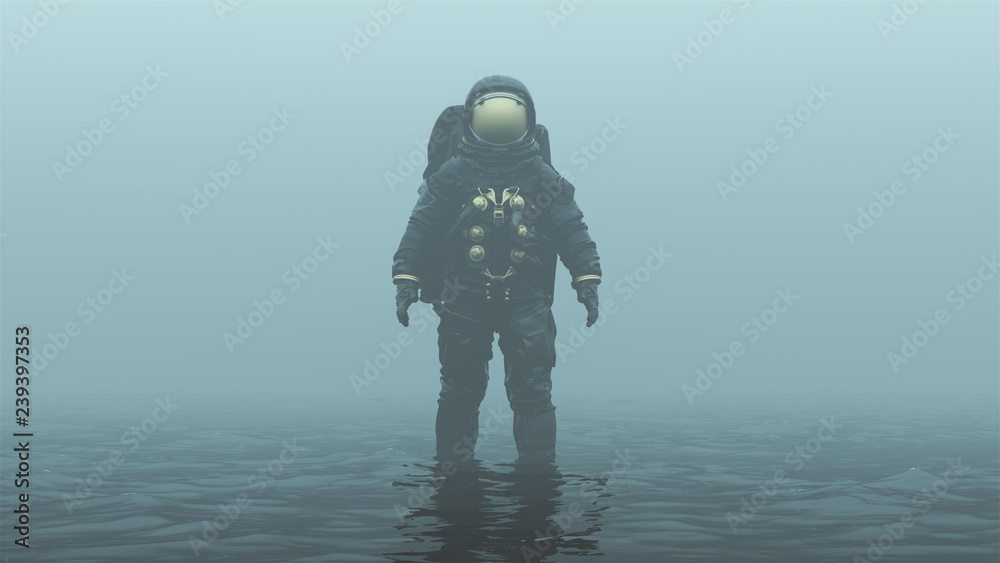 Fototapety, obrazy: Astronaut with Gold Visor Standing in Black Liquid in a Foggy Overcast Alien Environment 3d illustration