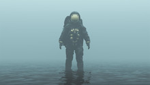 Astronaut With Gold Visor Standing In Black Liquid In A Foggy Overcast Alien Environment 3d Illustration