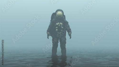 Photo  Astronaut with Gold Visor Standing in Black Liquid in a Foggy Overcast Alien Env