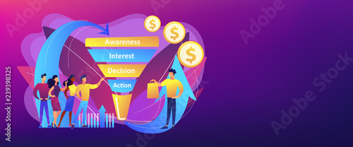 Photo  Sales funnel stages, potencial customers, buyer with purchase
