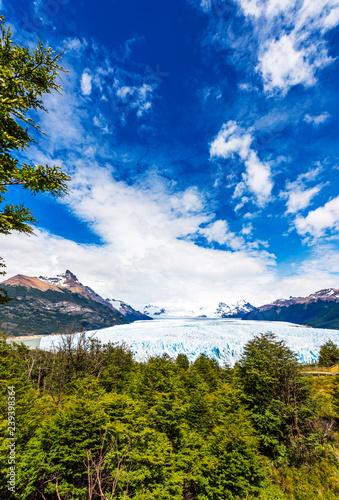 View of the Perito Moreno Glacier, Patagonia, Argentina. Vertical.