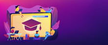 Students With Laptops Studying And Huge Laptop With Graduation Cap. Free Online Courses, Online Certificate Courses, Online Business School Concept. Header Or Footer Banner Template With Copy Space.