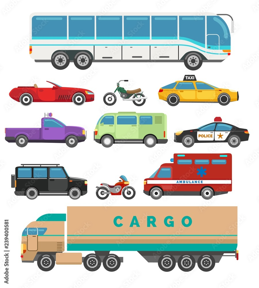 Fototapeta Urban vehicle set. Set of city cars, vector illustration of transport with taxi and police, bus and motorcycleurban flat