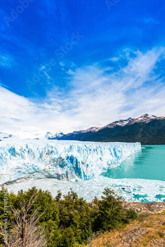 View of the Perito Moreno Glacier, Patagonia, Argentina. Vertical. Copy space for text.