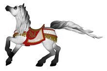 Carousel Horse Isolated On White, 3d Render.